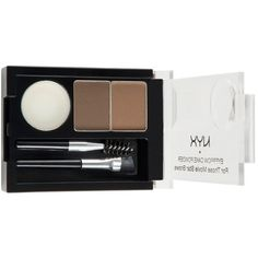 NYX Eyebrow Cake Powder - Brunette ($5.99) ❤ liked on Polyvore featuring beauty products, makeup, eye makeup, brunette, eye brow makeup, nyx, eye brow kit, eyebrow makeup and eyebrow kit