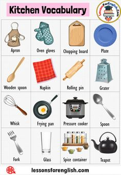 Food Vocabulary, English Vocabulary Words, Grammar And Vocabulary, Learning English, English Lessons, Simple Food Chain, Kitchen Essentials List, Tenses English, Emoji Defined
