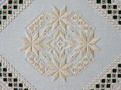 See the pretty once upon a star in hardanger at nordic needle Hardanger Embroidery, Lace Embroidery, Embroidery Patterns, Cross Stitch Bookmarks, Embroidery Supplies, Embroidery Techniques, Cross Stitch Designs, Blackwork, Needlework