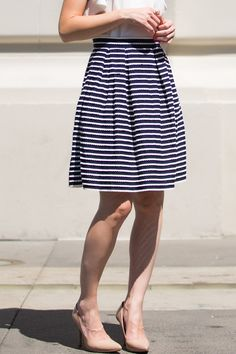 This striped skirt is the perfect combo of navy and white! The scallop detailed stripes make this the ultimate girly and chic piece! Zipper side with hook and eye e Work Fashion, Cute Fashion, Fashion Outfits, Womens Fashion, Modest Outfits, Cute Outfits, Professional Outfits, Cute Skirts, Stripe Skirt