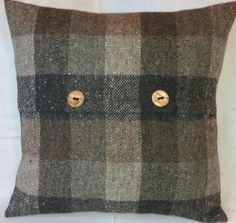 tweels Patchwork Effect Brown tone Tartan check tweed cushion cover Small