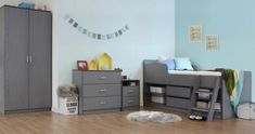 The Felix Low Sleeper Bed is a simple and comfortable bed available in Grey, White and Sonoma Oak. A modern, space saving solution with 2 underbed drawers and shelving. Grey Bedroom Set, Bedroom Sets, Bedside Cabinet, Bedroom Furniture Sets, Bed Frame, Bunk Beds, Space Saving, Toddler Bed, Sonoma Oak