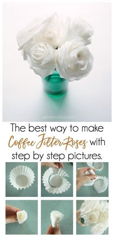 Try this easy step by step DIY to make the perfect coffee filter roses with variations.  They can make a beautiful paper flower bouquet, a lovely alternative to fresh flowers.   #paperroses #paperflowers #paperflowersdiy #coffeefilterflowers #diycoffeefilterroses #howtomakepaperroses #diypaperroses #easydiypaperroses