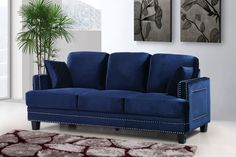 Furniture: Trendy Blue Velvet Couch Design To Inspired . Furniture: Trendy Blue Velvet Couch Design To Inspired . Furniture: Trendy Blue Velvet Couch Design To Inspired . Home and Family Living Room Chairs, Nailhead Sofa, Overstock Furniture, Furniture, Meridian Furniture, Sofa Furniture, Sofa Couch Bed, Usa Furniture, Navy Sofa