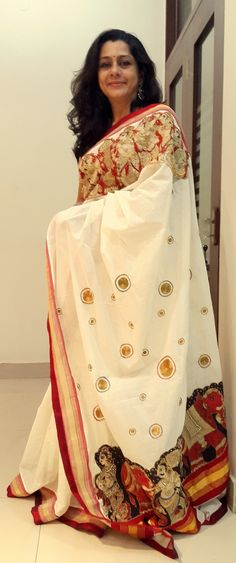 Pen Kalamkari on Kerala Saree Paarvati Kiriyath Bharath Hastakala Kalamkari Winter Collection 2015