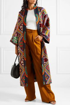 Rianna + Nina Marjam embroidered woven coat in White-Linen Kimono Fashion, Hijab Fashion, Boho Fashion, Fashion Outfits, Iranian Women Fashion, African Fashion, Chic Outfits, Ideias Fashion, Clothes For Women