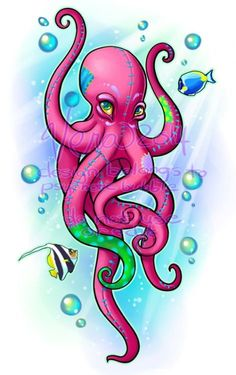 octopus with female eyes Octopus Artwork, Octopus Drawing, Octopus Painting, Octopus Tattoo Design, Octopus Tattoos, How To Draw Octopus, Cute Octopus Tattoo, Octopus Sketch, Tumblr Design