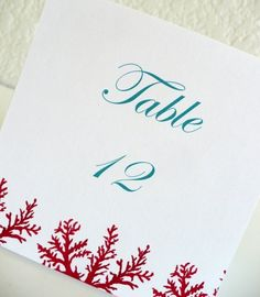 CORAL Table Numbers -Red Branches Beach Wedding Tropical Events Seaside Ocean  Aqua Turquoise Blue Escort Place Cards Destination. $25.00, via Etsy.