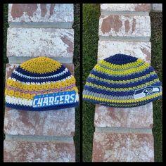 NFL crochet hats by Dandelion Daze