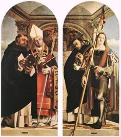 Sts Thomas Aquinas and Flavian, Sts Peter the Martyr and Vitus - Lorenzo Lotto