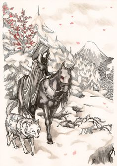 ENGLISH: This is a drawing I've made inspired by some screenshots of Shadowmere, a wonderful and magic horse from Skyrim. I've never played at Skyrim, but I find it really awesome, and I would like...