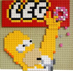 Two cult objects were put together in one mosaic! (Three, if donut considered) Lego Simpsons, Lego Mosaic, Lego Sculptures, Lego Wall, All Lego, Lego Blocks, Cool Lego Creations, Lego Toys, Lego Design