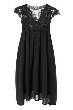 $15.15 Plus Size Lace Spliced Hollow Out Dress