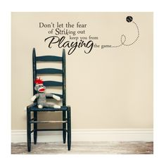 Thought this was cute for the theme you guys have going for the boys room. Baseball Quote  Vinyl Decal  Sports Theme Vinyl Wall by loladecor, $28.00
