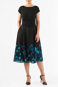 I <3 this Floral print pleat waist mixed media dress from eShakti