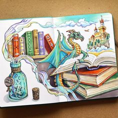 Books can create the whole fantasy worlds for readers. Travel Journal Countries Plus Fantasy Drawings. By Anna Cheberiak. art Travel Journal Countries Plus Fantasy Drawings Fantasy Drawings, Fantasy Kunst, Pencil Art Drawings, Art Drawings Sketches, Cute Drawings, Copic Marker Drawings, Fantasy Artwork, Marker Kunst, Marker Art