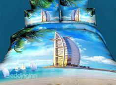 Burj Al Arab Hotel under the Blue Sky Print Duvet Cover Sets #3d #bedding #bedroom