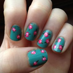 """Blonde & Polished: March 2014/Floral nails ft Julep:Today I have this floral design to show featuring all Julep nail polishes. Please forgive me for the bad cuticles/ paint on my skin. This is from three years ago. For the base I used """"Miranda,"""" this inside of the roses is """"Carrie,"""" lining of the roses is """"Carmen,"""" and the leaves were made using """"Stephani."""""""
