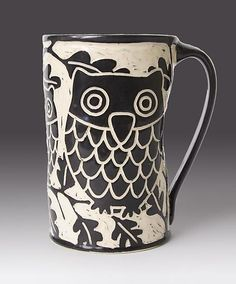 Start your day off right with a cup of coffee or tea in this unique wheel-thrown ceramic mug. From Owl Stop