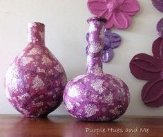 decoupage napkins on paper mache vases, crafts, decoupage