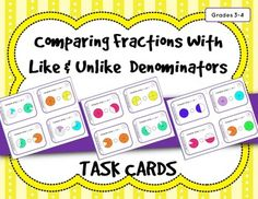 Use these 28 task cards to help students practice comparing fractions with like and unlike denominators with a given model. A student answer sheet and answer key is included so that students can check their work. These task cards will work for stations, partner work, independent practice, for early finishers, or with the whole class playing a game such as Scoot.