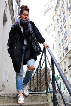 Parisienne casual. Richard fur coat & Betty kicks: Isabel Marant . Sandro leather oversized bag. http://www.net-a-porter.com/product/77169