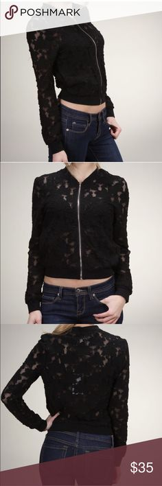 Lace Bomber Jacket One of the upcoming fashion trends of the year in all over black lace. 62% cotton/30% spandex/8% spandex. Moon Collection Jackets & Coats Utility Jackets