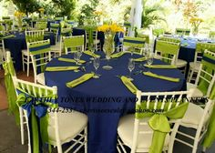Blue and green wedding theme
