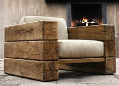 Home-Dzine Decorating a home in modern rustic style - Modern Chair - Ideas of Modern Chair - Railway sleeper arm chair. Home-Dzine Decorating a home in modern rustic style LOVE this chair! Diy Furniture, Furniture Design, Furniture Projects, Furniture Plans, Business Furniture, Furniture Stores, Backyard Furniture, Modern Furniture, Antique Furniture