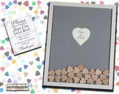 Wedding Guest Book Alternative Wood Drop In Top Heart Frame Unique Wedding Guestbook Shadow Box Idea
