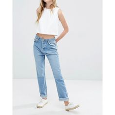 Neon Rose Jeans with Dropped Hem Detail featuring polyvore women's fashion clothing jeans denimblue tall jeans mid rise straight jeans straight leg jeans regular fit jeans rose jeans