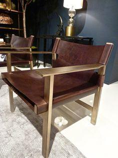 BERNHARDT - Leather & metal Aspen chair.