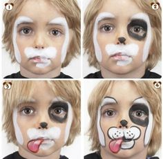 Dog Face painting step by step Face Painting Tutorials, Face Painting Designs, Body Painting, Painting Patterns, Halloween Face Paint Designs, Halloween Make Up, Halloween Face Makeup, Halloween Ideias, Halloween Puppy