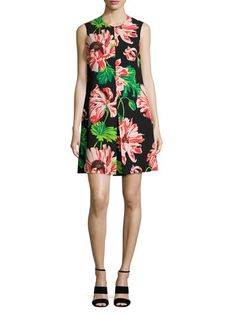 Floral Print Pleated A Line Dress by Stella McCartney at Gilt