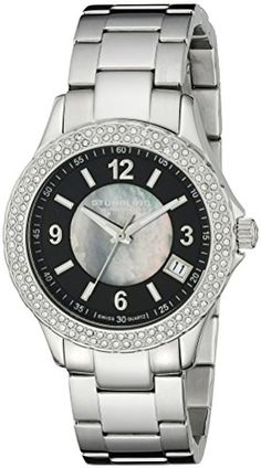 Stuhrling Original Women's 887.02 Vogue Iris Analog Display Swiss Quartz Silver Watch. Stainless steel round shaped case with unidirectional ratcheting Swarovski crystal studded bezel. Protective Krysterna crystal on front and decorated case back. Black mother of pearl inner dial with stainless steel applied Arabic numerals and markers with date window. Stainless steel triple row link bracelet with fold over double push button clasp. Water resistant to 165 feet (50 M): suitable for swimming…