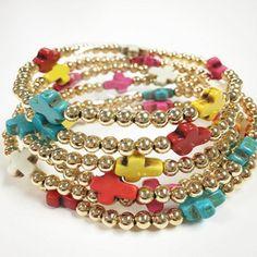 Bracelets By Vila Veloni Cute Multicolor Little Cross