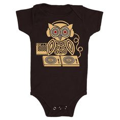 Headphones Owl - Baby One Piece Bodysuit Forest Bird Turntable Record Music Retro DJ Vinyl Cassette Cute Adorable Romper Jumper Black Onesie by GnomEnterprises on Etsy https://www.etsy.com/listing/206071027/headphones-owl-baby-one-piece-bodysuit