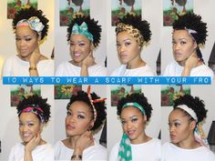 Dress up That 'Fro Girl: 10 Ways to Wear a Scarf w/Your 'Fro! but love the way she ties the scarves! Pelo Natural, Natural Hair Tips, Natural Hair Journey, Natural Hair Styles, Hair Wrap Scarf, Hair Scarf Styles, Curly Hair Styles, Ways To Wear A Scarf, How To Wear Scarves