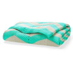 Aura Chevron 130x180cm Throw Mint