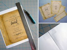 Step 1. Download and print the spell book printable. Step 2. Cut and stick the sheet to an old unused book (get one at a garage sale) using double sided tape and/or modge podge. Step 3. place the covered books aroud and cover with fake cobwebs. Love this idea for a haloween party. So cute and cheap.