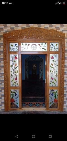 Wooden Front Door Design, Door Gate Design, Wooden Doors, Pooja Room Door Design, Door Design Interior, Window Glass Design, Stained Glass Door, False Ceiling Design, Basket Drawing