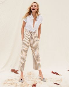 J.Crew men's short-sleeve lightweight oxford shirt, women's Thomas Mason® for J.Crew striped cotton pant and ikat pointed-toe mules.