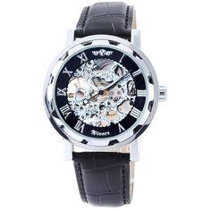 OrrOrr Skelett Elegante Klassisch mechanische Handaufzug Herrenuhr Armbanduhr Uhr - silbern & schwarz - http://uhr.haus/oem/orrorr-skelett-elegante-klassisch-mechanische
