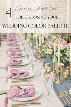 Dreaming up the perfect wedding color palette that fits your vision, wedding season, venue and other details can be tricky. But, the Chancey Charm team is here to share our top secrets for choosing your wedding color palette. #weddingcolorpalette #weddingcolors Wedding Reception Design, Wedding Designs, Wedding Colors, Wedding Ideas, Wedding Table, Wedding Details, Wedding Decor, Destination Wedding Planner, Wedding Coordinator