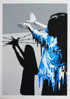 """Sad reality"" screen print limited edition Bleu Version, All differents more ; http://kurar.fr/"