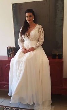 Plus size boho wedding gown with sleeves and chiffon skirt with long train. - Dream wedding dress - Plus size boho wedding gown with sleeves and chiffon skirt with long train. Wedding Dress Tea Length, Boho Wedding Dress With Sleeves, Boho Wedding Gown, Plus Size Wedding Gowns, Long Wedding Dresses, Plus Size Dresses, Dream Wedding, Dresses Dresses, Event Dresses