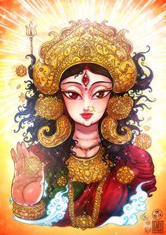 Durga maa by In-Sine on DeviantArt Durga Maa Paintings, Durga Painting, Lord Ganesha Paintings, Indian Goddess Kali, Durga Goddess, Indian Gods, Durga Ji, Durga Images, Lord Vishnu Wallpapers
