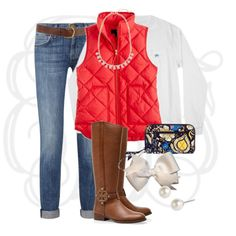 """JCrew Puffer Vest"" by classically-preppy on Polyvore"