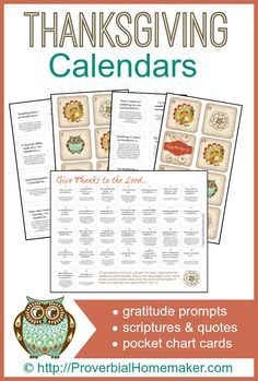 Thanksgiving Gratitude Calendars - gratitude prompts, scriptures and quotes, and pocket chart cards. ProverbialHomemaker.com