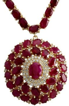 14K Yellow Gold 57.26ct Ruby & 1.70ct Diamond Necklace